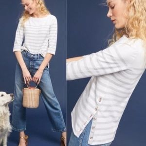 Anthropologie Maeve White and Gray Striped Top